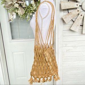 BoHo Shoulder Braided Burlap Market Bag